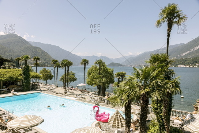 Bellagio, Italy - July 4, 2018: Swimming pool at the Villa Serbelloni Hotel