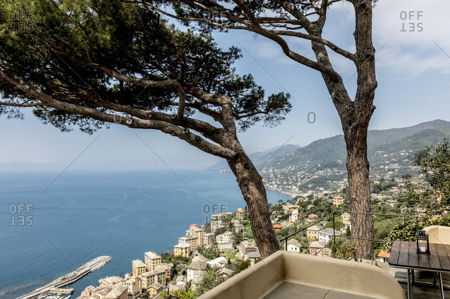 Scenic view of Italian village by the sea