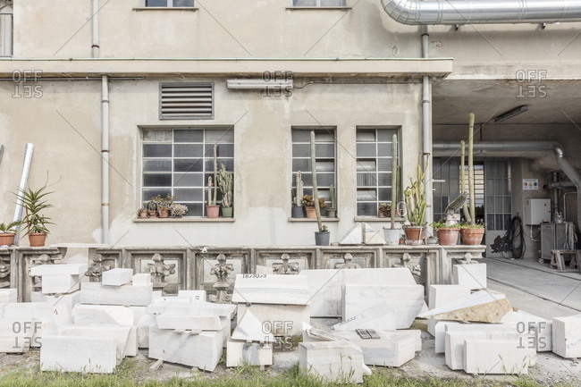 Old blocks from cathedral stored to be remade by local artisan
