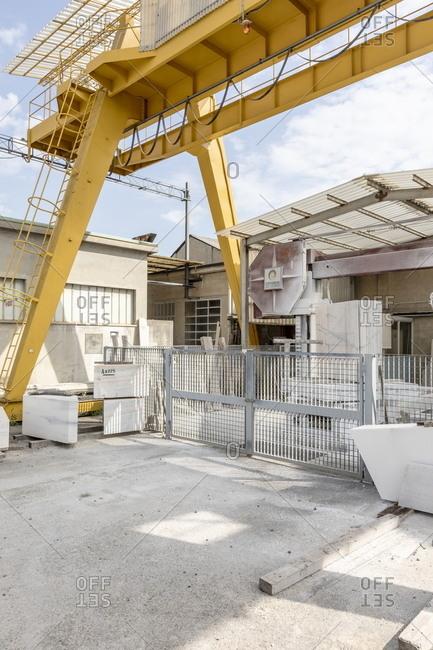 Milan, Italy - May 11, 2018: Workspace for reclaiming deteriorating materials from the Milan Cathedral at La Veneranda Fabbrica del Duomo
