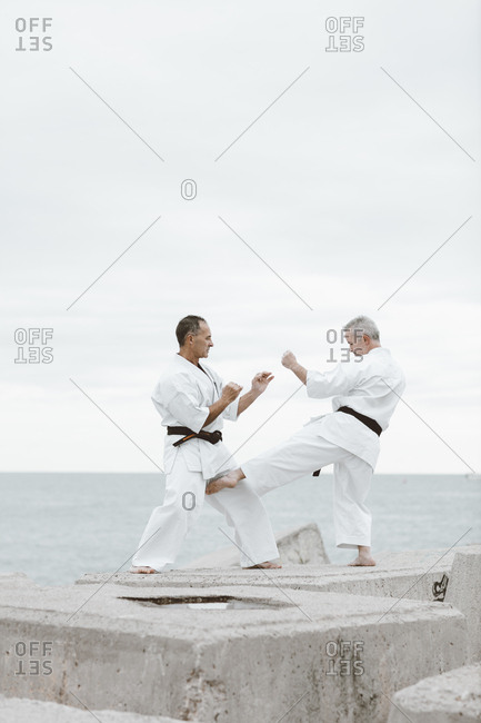Karate fighters practicing martial arts by the sea