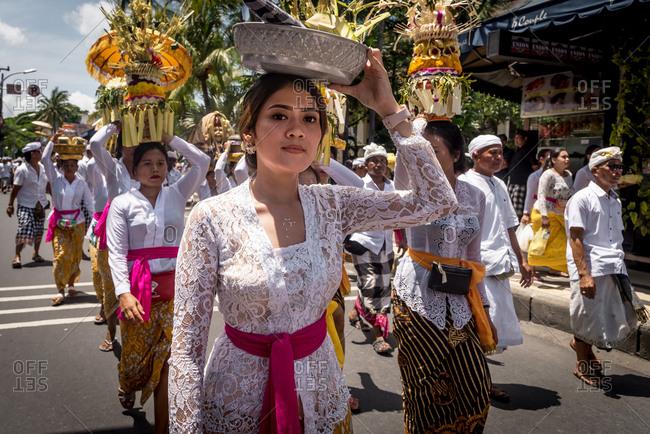 December 06, 2018: Nanggluk Merana celebration. Kuta, Bali, Indonesia