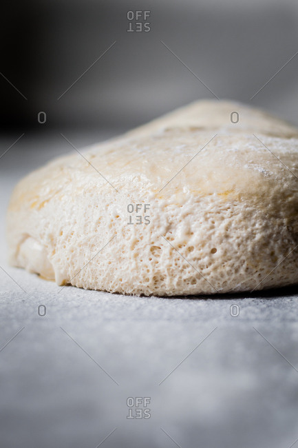 Close-up of uncooked bread dough