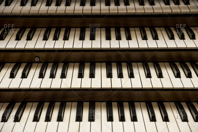Keyboards on a church organ in Berlin, Germany.