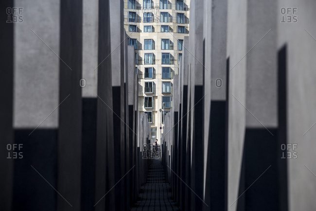 Berlin, Germany - April 20, 2018: Shadows at the Memorial to the Murdered Jews of Europe.