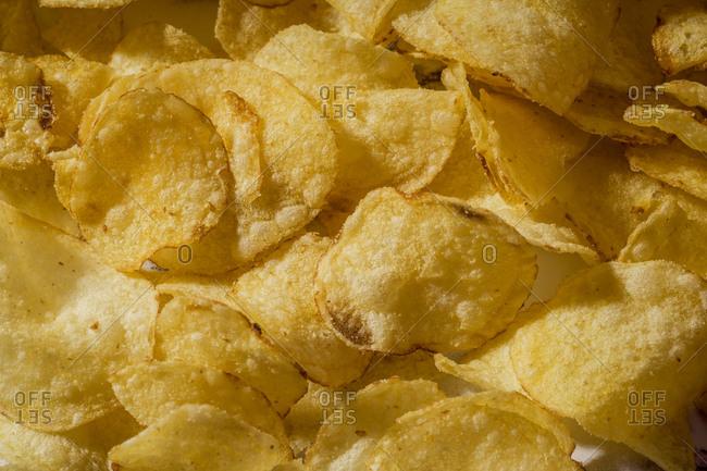 Close up image of potato crisps