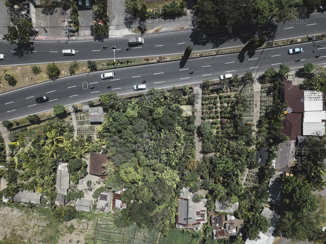 Aerial view of road in city
