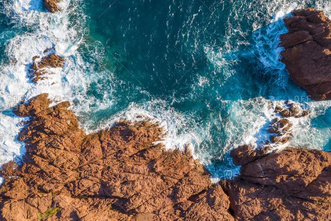 Overhead view of rocky coastline