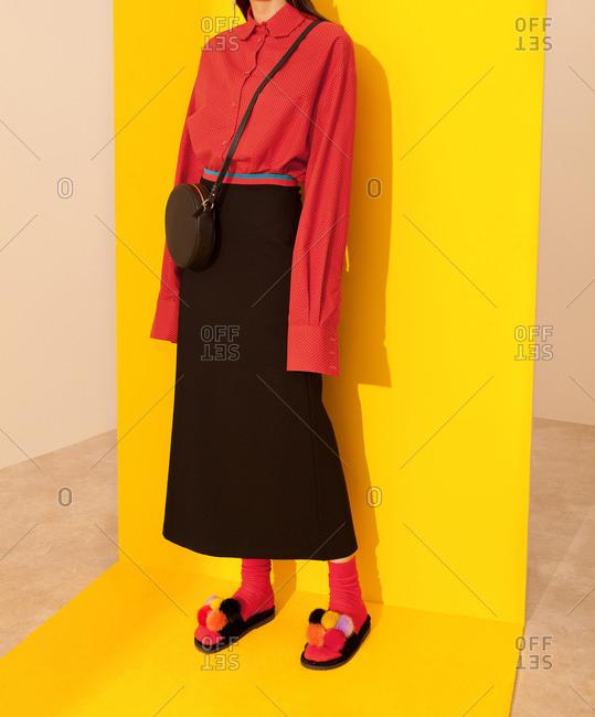 Model with long black skirt