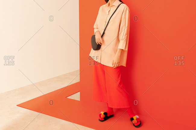Model wearing red culottes