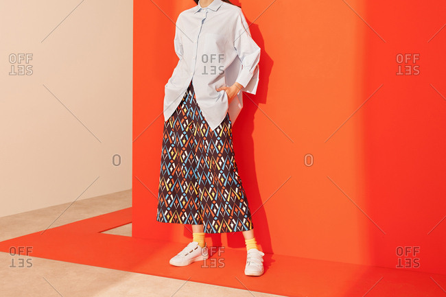 Model wearing colorful pattern culottes