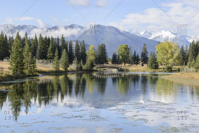 Banff National Park, bridge, lake, Rocky Mountains, reflection, trees