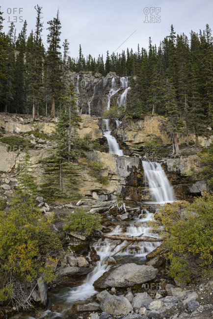 Jasper National Park, Tangle Creek Falls, vertical, waterfall, cascade, river