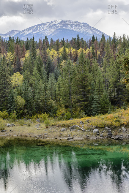 Valley of the Five Lakes, Alberta, autumn, fall, colorful, forest, turquoise, trees, water, Rocky Mountains