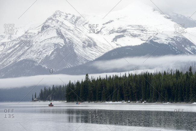Jasper National Park, Maligne Lake, boat, fishing, adventure, attraction, entertainment, mountain, recreation, snow, tourism, trip