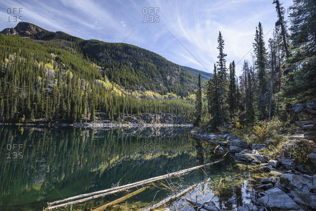 Horseshoe Lake, canadian rockies, colorful, forest,  national park, recreation, reflection, relaxation, rest, rocks, stones, turquoise, water, wide angle
