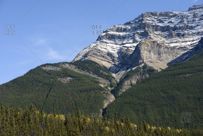 Jasper National Park, Athabasca, Alberta, mountain,  geological, geology, layers, snow, forest, grand, impressive