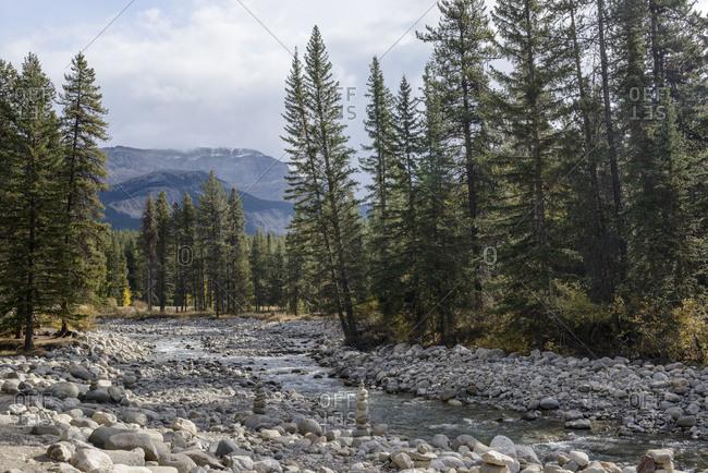Banff National Park, Alberta, river, riverbed, rockies, stones