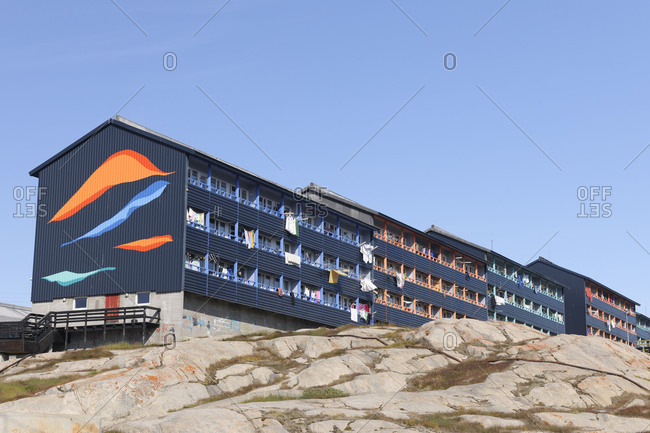 Apartment house, Ilulissat, Icefjord, Disko Bay, Qaasuitsup, Greenland, Polar Regions, Arctic
