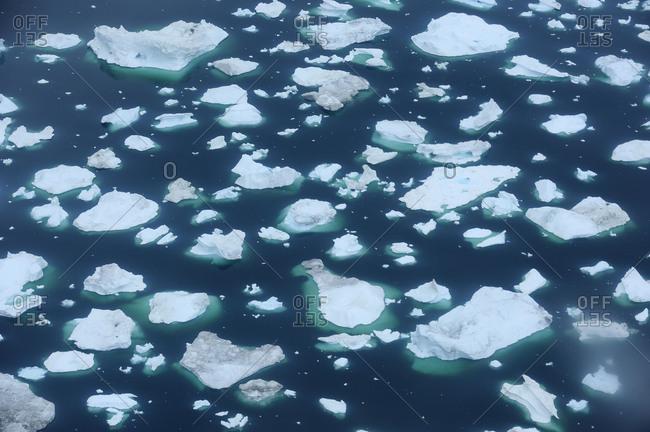 Greenland - April 24, 2018: Ice floe at Ilulissat icefjord, Ilulissat, Icefjord, Disko Bay, Qaasuitsup, Greenland, Polar Regions, Arctic