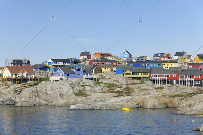 Greenland - April 24, 2018: Colorful houses in Ilulissat, Ilulissat, Icefjord, Disko Bay, Qaasuitsup, Greenland, Polar Regions, Arctic