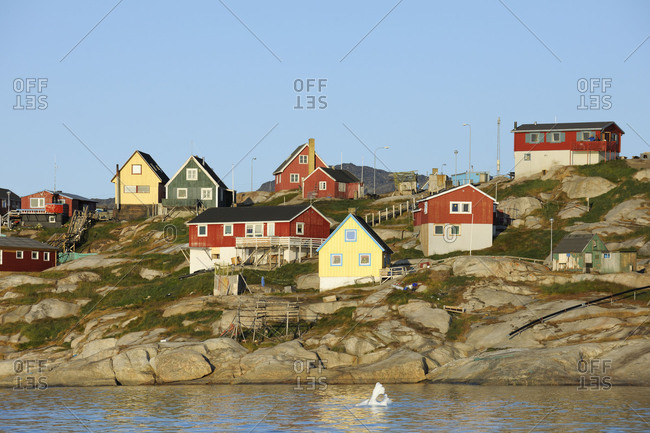 Colorful houses in Ilulissat, Ilulissat, Icefjord, Disko Bay, Qaasuitsup, Greenland, Polar Regions, Arctic