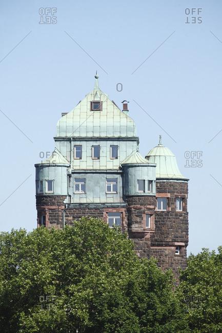 Germany - June 27, 2018: Historic bridge tower of the Friedrich Ebert bridge, Duisburg-Ruhrort, Duisburg, Ruhr area, North Rhine-Westphalia.