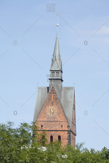 Germany - June 27, 2018: Tower of the Marktkirche, Hannover, Lower Saxony.