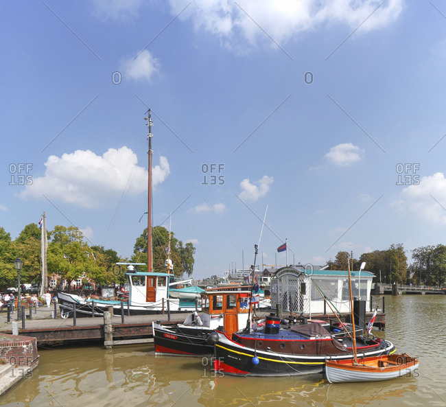 Historic ships in the museum harbor, Leer, East Frisia, Lower Saxony, Germany, Europe