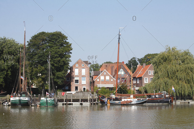 Germany - June 27, 2018: Residential houses at trade harbor, Leer, East Frisia, Lower Saxony.