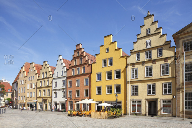 Germany - December 11, 2018: Historic gable houses on the market square, Osnabruck, Lower Saxony, Osnabruck.