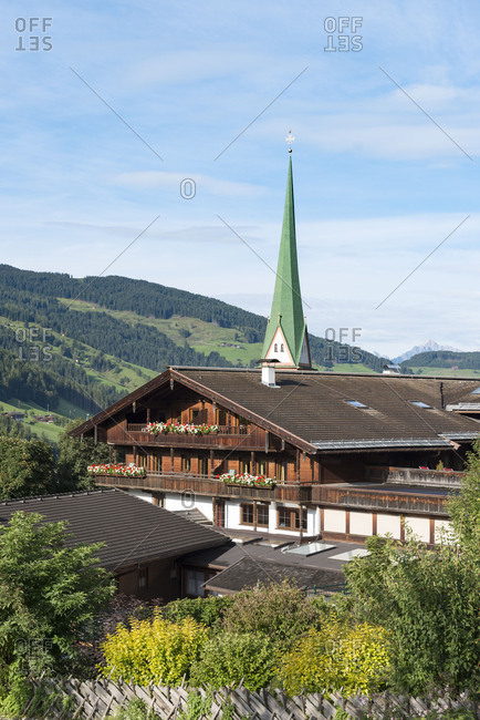 Austria - December 11, 2018: Austria, Tyrol, Alpbach valley, Alpbach with the parish church.