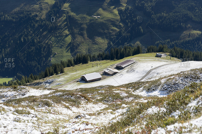 Austria, Tyrol, Alpbach valley, view from the Wiedersberger Horn on the Wiedersberger Alm.