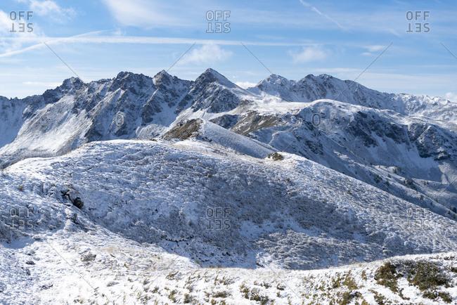 Austria, Tyrol, Alpbach valley, view from the Wiedersberger Horn to the Sagtaler peaks.