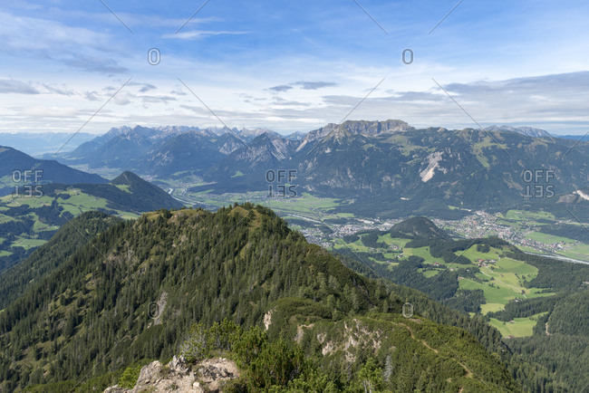 Austria, Tyrol, Alpbach valley, view from the Gratlspitz into the Inn Valley and the Rofan Mountains.