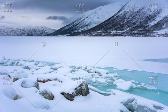 Europe, Norway, Troms, Tromvik, weather change