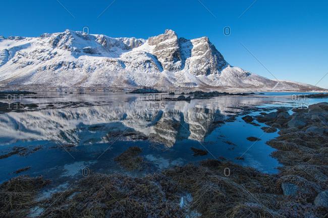 Europe, Norway, Troms, mountains, water reflection
