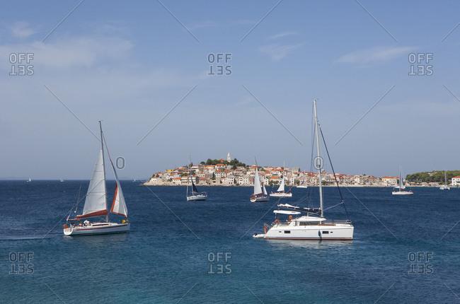 Croatia, Dalmatia, Central Dalmatia, Primosten, old town, Sailboats, Adriatic Sea,