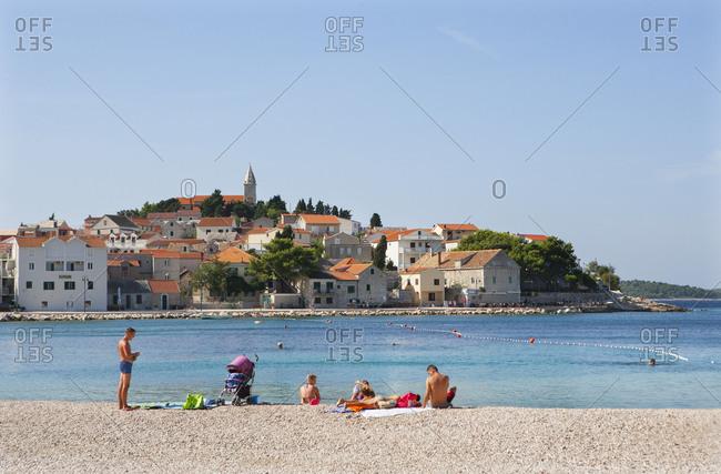 Croatia - June 28, 2018: Croatia, Dalmatia, Central Dalmatia, Primosten, Adriatic Sea, View to the old town