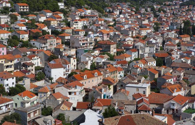 Croatia - June 28, 2018: Croatia, Dalmatia, Central Dalmatia, Sibenik, Residential houses, townscape