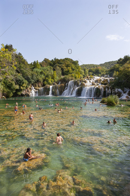Croatia - June 28, 2018: Croatia, Dalmatia, Central Dalmatia, Krka National Park, Sibenik, Nature Reserve, Cascades, Bathers