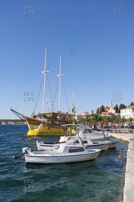 Croatia - June 28, 2018: Croatia, Dalmatia, Middle Dalmatia, Rogoznica, promenade, harbor, Adriatic sea