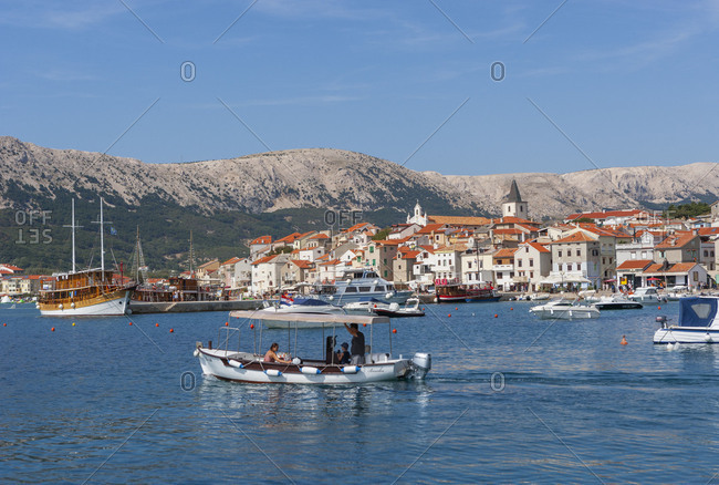 Croatia - June 28, 2018: Croatia, Kvarner Bay, Krk island, Baska, Adriatic sea, boats