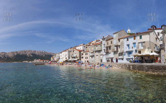 Croatia - June 28, 2018: Croatia, Kvarner Bay, Krk Island, Baska, promenade, Adriatic sea