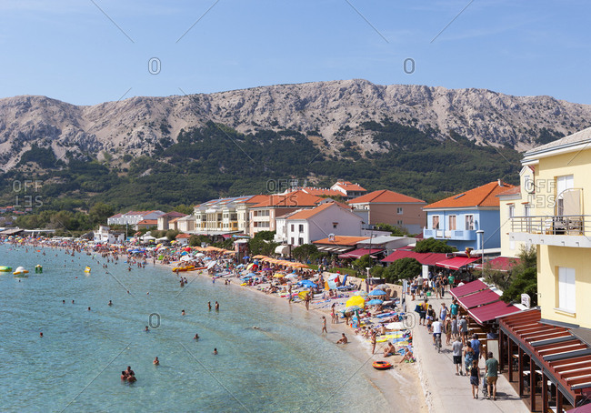 Croatia, Kvarner Bay, Krk Island, Baska, promenade, Adriatic sea,