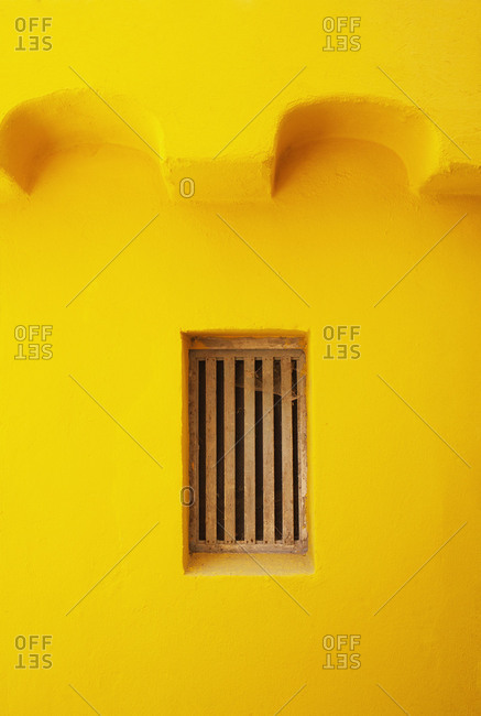 Croatia, Kvarner Bay, Krk Island, Baska, old town, facade, yellow, window, detail,