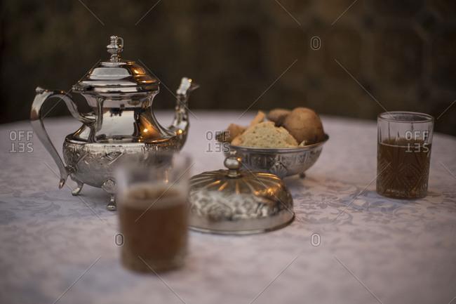 Morocco, Quarzazate, travel route along road N9, tea break