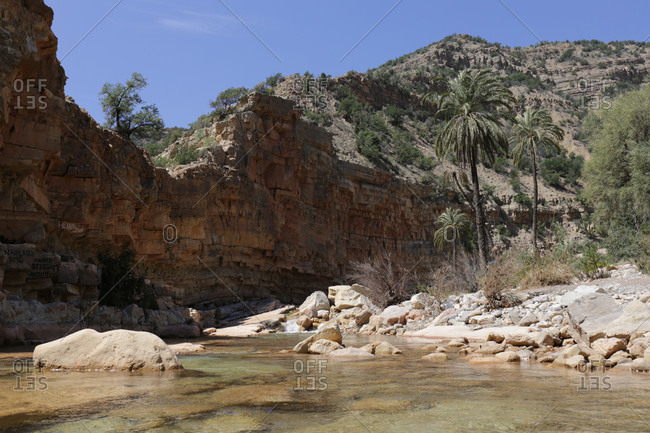Morocco - May 30, 2018: Morocco, river in the Vallee du Paradis