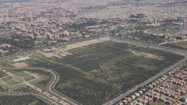 Morocco, Marrakech, aerial view