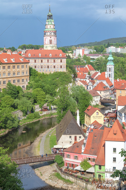 Czech Republic - June 29, 2018: Cesky Krumlov, South Bohemia, Czech Republic, Europe, view of the city and Krumlov Castle